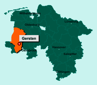 Die Karte von Gersten zeigt die Lage im Landkreis Emsland - Der Ort 49838 Gersten liegt im Bundesland Niedersachsen