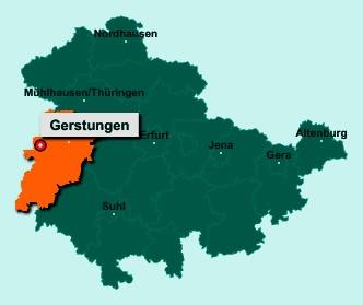 Die Karte von Gerstungen zeigt die Lage im Wartburgkreis - Der Ort 99834 Gerstungen liegt im Bundesland Thüringen