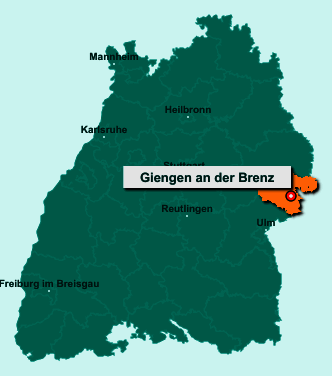Der Lageplan von Giengen an der Brenz zeigt die Position im Landkreis Heidenheim - Der Ort liegt im Bundesland Baden-Württemberg