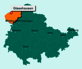 Die Karte von Glasehausen zeigt die Lage im Landkreis Eichsfeld - Der Ort 37308 Glasehausen liegt im Bundesland Thüringen
