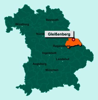 Die Karte von Gleißenberg zeigt die Lage im Landkreis Cham - Der Ort 93477 Gleißenberg liegt im Bundesland Bayern