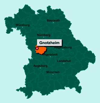 Der Lageplan von 91728 Gnotzheim zeigt die Position im Landkreis Weißenburg-Gunzenhausen - Der Ort liegt im Bundesland Bayern