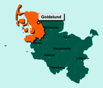 Die Karte von Goldelund zeigt die Lage im Kreis Nordfriesland - Der Ort 25862 Goldelund liegt im Bundesland Schleswig-Holstein