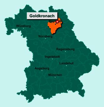 Der Lageplan von 95497 Goldkronach zeigt die Position im Landkreis Bayreuth - Der Ort liegt im Bundesland Bayern
