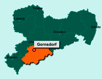 Die Karte von Gornsdorf zeigt die Lage im Erzgebirgskreis - Der Ort 09390 Gornsdorf liegt im Bundesland Sachsen