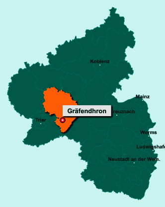 Der Lageplan von 54426 Gräfendhron zeigt die Position im Landkreis Bernkastel-Wittlich - Der Ort liegt im Bundesland Rheinland-Pfalz