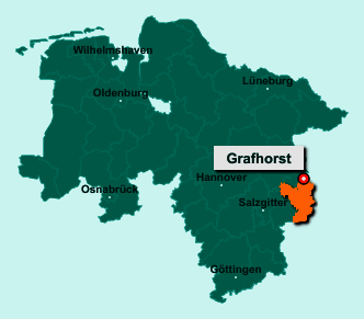 Der Lageplan von 38462 Grafhorst zeigt die Position im Landkreis Helmstedt - Der Ort liegt im Bundesland Niedersachsen