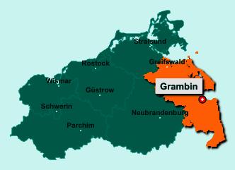 Die Karte von Grambin zeigt die Lage im Landkreis Vorpommern-Greifswald - Der Ort 17375 Grambin liegt im Bundesland Mecklenburg-Vorpommern