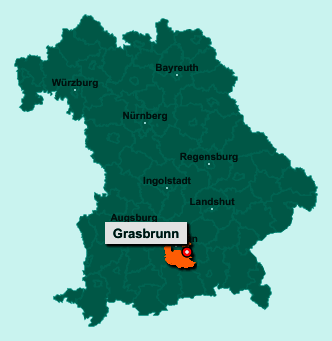 Die Karte von Grasbrunn zeigt die Lage im Landkreis München - Der Ort 85630 Grasbrunn liegt im Bundesland Bayern