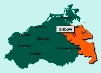 Der Lageplan von 17506 Gribow zeigt die Position im Landkreis Vorpommern-Greifswald - Der Ort liegt im Bundesland Mecklenburg-Vorpommern
