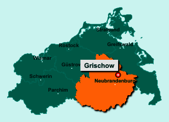 Die Karte von Grischow zeigt die Lage im Landkreis Mecklenburgische Seenplatte - Der Ort 17089 Grischow liegt im Bundesland Mecklenburg-Vorpommern
