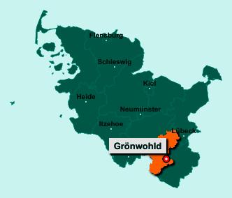 Der Lageplan von 22956 Grönwohld zeigt die Position im Kreis Stormarn - Der Ort liegt im Bundesland Schleswig-Holstein