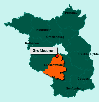 Die Karte von Großbeeren zeigt die Lage im Landkreis Teltow-Fläming - Der Ort 14979 Großbeeren liegt im Bundesland Brandenburg