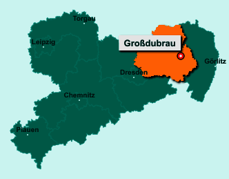 Der Lageplan von 02694 Großdubrau zeigt die Position im Landkreis Bautzen - Der Ort liegt im Bundesland Sachsen