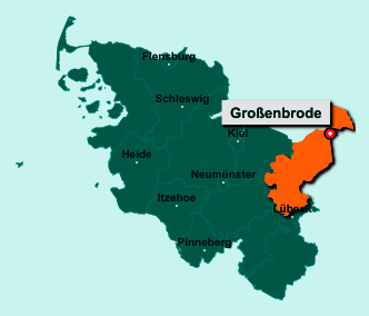 Die Karte von Großenbrode zeigt die Lage im Kreis Ostholstein - Der Ort 23775 Großenbrode liegt im Bundesland Schleswig-Holstein