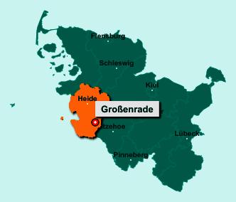 Der Lageplan von 25712 Großenrade zeigt die Position im Kreis Dithmarschen - Der Ort liegt im Bundesland Schleswig-Holstein
