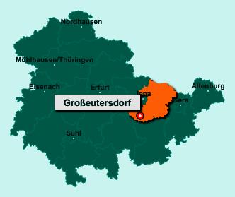 Die Karte von Großeutersdorf zeigt die Lage im Saale-Holzland-Kreis - Der Ort 07768 Großeutersdorf liegt im Bundesland Thüringen