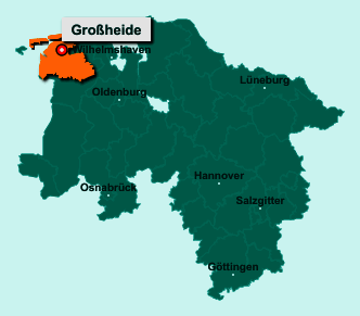 Der Lageplan von 26532 Großheide zeigt die Position im Landkreis Aurich - Der Ort liegt im Bundesland Niedersachsen