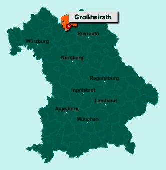 Die Karte von Großheirath zeigt die Lage im Landkreis Coburg - Der Ort 96269 Großheirath liegt im Bundesland Bayern