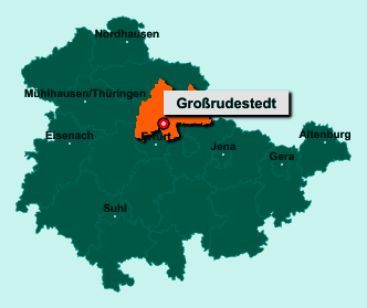 Der Lageplan von 99195 Großrudestedt zeigt die Position im Landkreis Sömmerda - Der Ort liegt im Bundesland Thüringen
