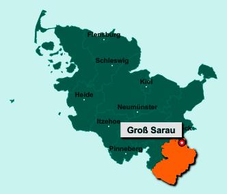 Der Lageplan von 23627 Groß Sarau zeigt die Position im Kreis Herzogtum Lauenburg - Der Ort liegt im Bundesland Schleswig-Holstein