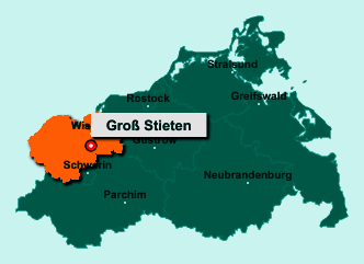 Die Karte von Groß Stieten zeigt die Lage im Landkreis Nordwestmecklenburg - Der Ort 23972 Groß Stieten liegt im Bundesland Mecklenburg-Vorpommern