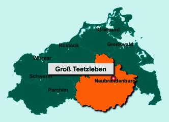 Der Lageplan von 17091 Groß Teetzleben zeigt die Position im Landkreis Mecklenburgische Seenplatte - Der Ort liegt im Bundesland Mecklenburg-Vorpommern
