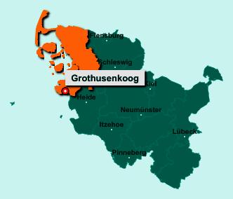 Die Karte von Grothusenkoog zeigt die Lage im Kreis Nordfriesland - Der Ort 25836 Grothusenkoog liegt im Bundesland Schleswig-Holstein