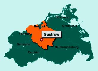 Der Lageplan von 18273 Güstrow zeigt die Position im Landkreis Rostock - Der Ort liegt im Bundesland Mecklenburg-Vorpommern