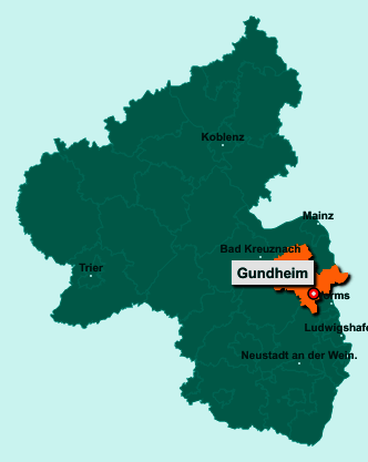 Der Lageplan von 67599 Gundheim zeigt die Position im Landkreis Alzey-Worms - Der Ort liegt im Bundesland Rheinland-Pfalz