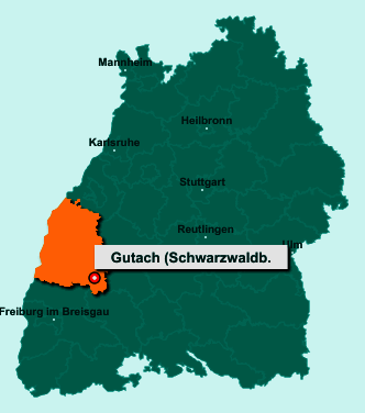 Die Karte von Gutach (Schwarzwaldbahn) zeigt die Lage im Ortenaukreis - Der Ort 77793 Gutach (Schwarzwaldbahn) liegt im Bundesland Baden-Württemberg