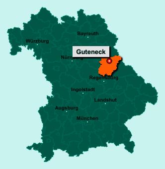 Die Karte von Guteneck zeigt die Lage im Landkreis Schwandorf - Der Ort 92543 Guteneck liegt im Bundesland Bayern