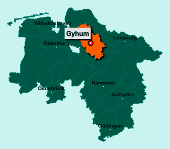 Die Karte von Gyhum zeigt die Lage im Landkreis Rotenburg (Wümme) - Der Ort 27404 Gyhum liegt im Bundesland Niedersachsen