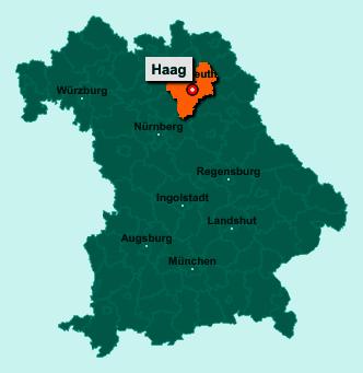 Der Lageplan von 95473 Haag zeigt die Position im Landkreis Bayreuth - Der Ort liegt im Bundesland Bayern