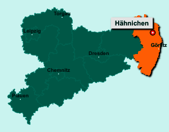Die Karte von Hähnichen zeigt die Lage im Landkreis Görlitz - Der Ort 02923 Hähnichen liegt im Bundesland Sachsen