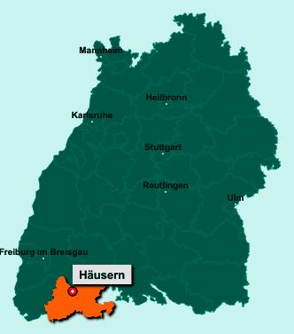 Die Karte von Häusern zeigt die Lage im Landkreis Waldshut - Der Ort 79837 Häusern liegt im Bundesland Baden-Württemberg