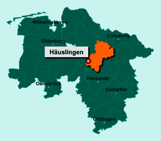 Die Karte von Häuslingen zeigt die Lage im Landkreis Heidekreis - Der Ort 27336 Häuslingen liegt im Bundesland Niedersachsen