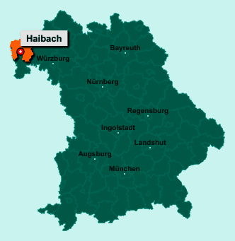 Die Karte von Haibach zeigt die Lage im Landkreis Aschaffenburg - Der Ort 63808 Haibach liegt im Bundesland Bayern