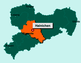 Der Lageplan von 09661 Hainichen zeigt die Position im Landkreis Mittelsachsen - Der Ort liegt im Bundesland Sachsen