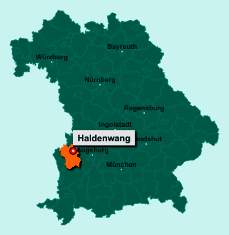Der Lageplan von 89356 Haldenwang zeigt die Position im Landkreis Günzburg - Der Ort liegt im Bundesland Bayern
