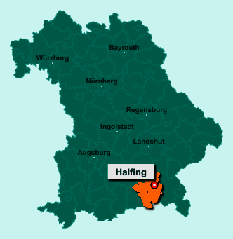 Der Lageplan von 83128 Halfing zeigt die Position im Landkreis Rosenheim - Der Ort liegt im Bundesland Bayern