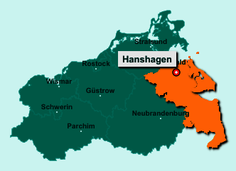 Die Karte von Hanshagen zeigt die Lage im Landkreis Vorpommern-Greifswald - Der Ort 17509 Hanshagen liegt im Bundesland Mecklenburg-Vorpommern
