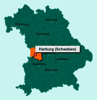 Die Karte von Harburg (Schwaben) zeigt die Lage im Landkreis Donau-Ries - Der Ort 86655 Harburg (Schwaben) liegt im Bundesland Bayern