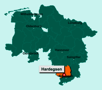Der Lageplan von 37181 Hardegsen zeigt die Position im Landkreis Northeim - Der Ort liegt im Bundesland Niedersachsen