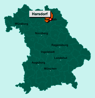 Die Karte von Harsdorf zeigt die Lage im Landkreis Kulmbach - Der Ort 95499 Harsdorf liegt im Bundesland Bayern
