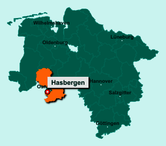 Die Karte von Hasbergen zeigt die Lage im Landkreis Osnabrück - Der Ort 49205 Hasbergen liegt im Bundesland Niedersachsen
