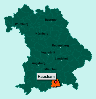 Die Karte von Hausham zeigt die Lage im Landkreis Miesbach - Der Ort 83734 Hausham liegt im Bundesland Bayern