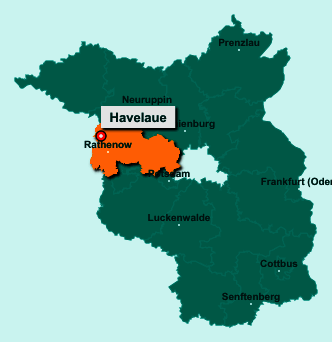 Der Lageplan von 14715 Havelaue zeigt die Position im Landkreis Havelland - Der Ort liegt im Bundesland Brandenburg