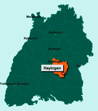 Die Karte von Hayingen zeigt die Lage im Landkreis Reutlingen - Der Ort 72534 Hayingen liegt im Bundesland Baden-Württemberg