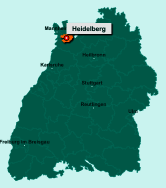 Der Lageplan von Heidelberg zeigt die Position im Bundesland Baden-Württemberg - Dieser Ort ist eine kreisfreie Stadt